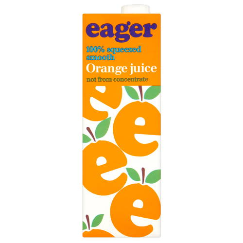 eager Orange Juice 100% Squeezed Smooth 1 Litre (Not from Concentrate)