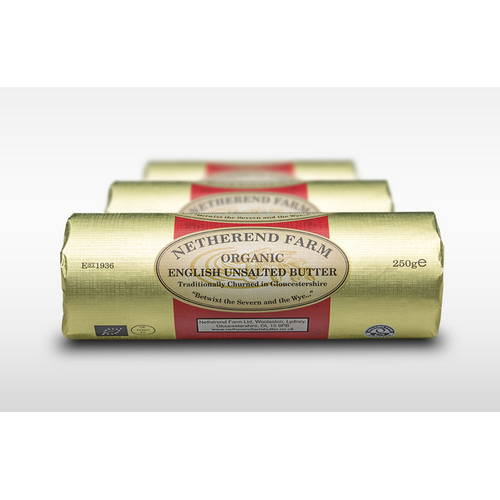 Netherend Unsalted Butter Organic Roll 250g