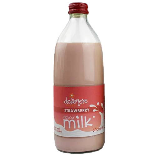 Delamere Sterilised Flavoured Milk Strawberry (500ml) Glass Bottle